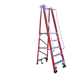 Laddermenn Ladders | L M Metals (S) Pte Ltd | Fibre Glass With Wheels